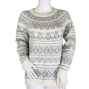 J. Jill Gray Cream Fair Isle Pull Over Sweater S